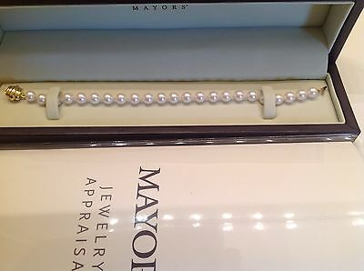 """Akoya Cultured Pearl Bracelet 23 white pearls knotted 7mm 7"""" 18kt.Gold Clasp"""