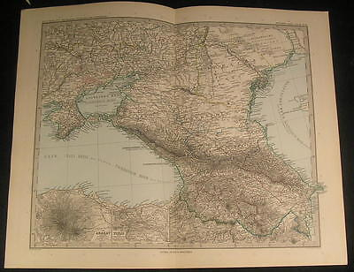 Southern Russia Caucasus Crimea Black Sea 1894 antique engraved color map