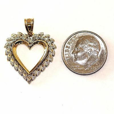 14k yellow white gold two-tone heart charm pendant 2.4g vintage estate antique