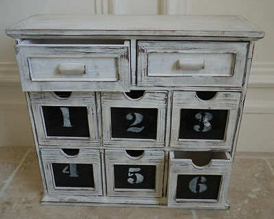 SmallVintage Wooden Drawer Cabinet Shabby Chic Style Jewellery Box Storage Unit