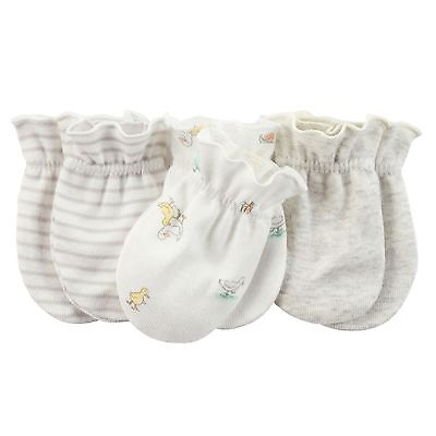 New Carter's 3 Pack Baby Mittens size 0-3 months NWT 100% Snail Duck White