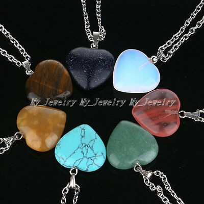 Gemstone Rock Heart Pendant Necklace Natural Quartz Healing Point Chakra Stone