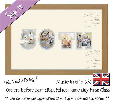 50th Birthday Golden Wedding Anniversary Guest Signing Word Photo Frame