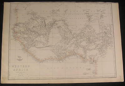 Western Africa Gulf of Guinea c.1863 large old vintage detailed Weller map