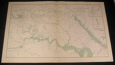 Richmond Southeast Virginia Fort Monroe c.1890's huge old vintage Civil War map