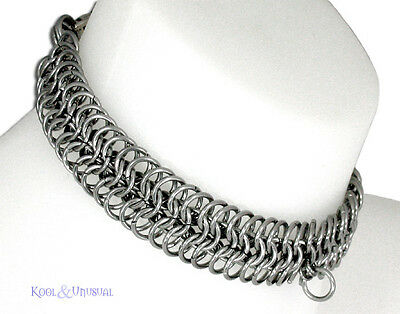 NARROW Steel Chain Mail Slave Collar by SINPATIKO * Goth Punk Emo