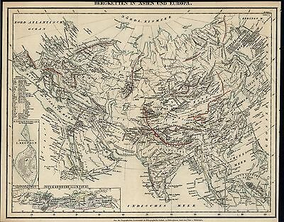 Mountains of Asia & Europe c.1850 old German scientific map