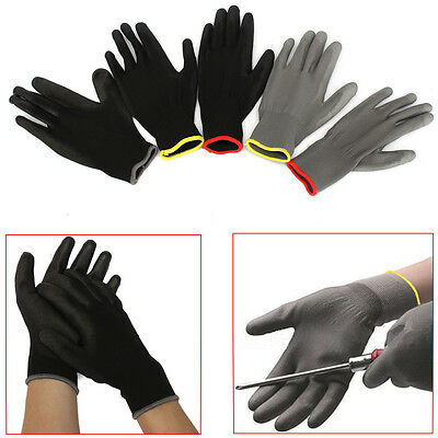 1 Pair PU Palm Coated Precision Protective Safety Anti Static Work Gloves S M L