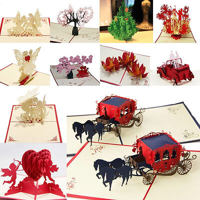 3D Pop Up Greeting Cards Kirigami Birthday Wishes & Anniversary Wedding Gift