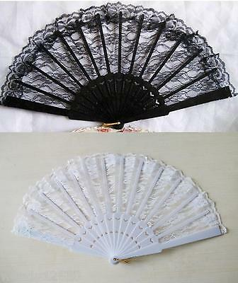 Hand Held Folding Fan, Plastic & Lace, Period, Costume, Accessory, Summer, Dance