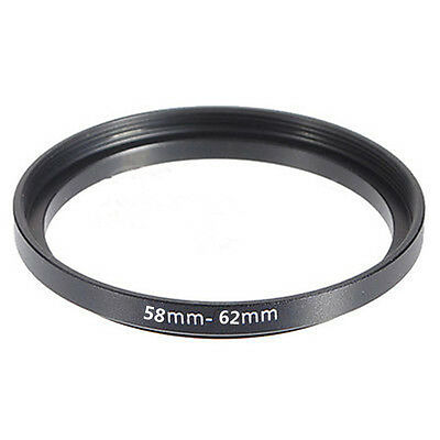 58mm-62mm 58-62 mm 58 to 62 Step Up Filter Ring Stepping Adapter Adaptor Black x