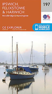 Ipswich Felixstowe and Harwich 197 Explorer Map Ordnance Survey With Digital Dow