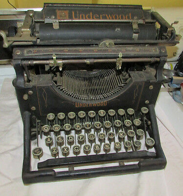 Antique Underwood No. 5? Standard Typewriter Early 1900's Removable Carriage