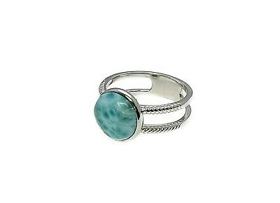 Larimar 10mm Natural Genuine Dominican 925 Sterling Silver designer Ring.size 8