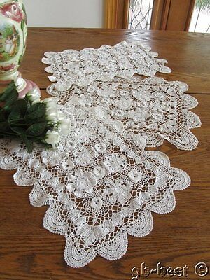 12 Vintage Crochet Lace Placemats Roses Tulips Scallops White PRETTY