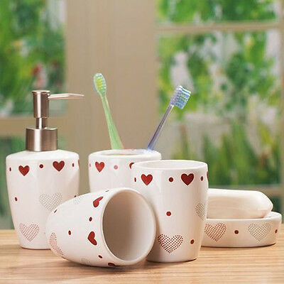 Ceramic Bathroom Set of 5 Red Hearts Lotion, Toothbrush Cup Holder 2209-A