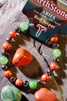 'ARIES' Gemstone 'Power Bracelet' plus a free guide book & bookmark.