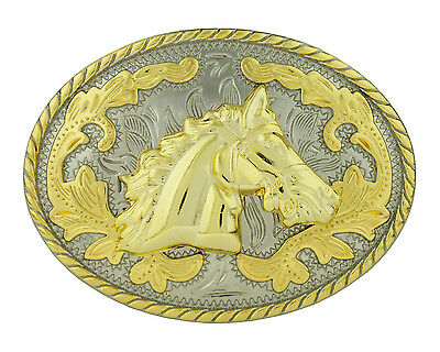 Horse Head Oval Western Style Cowboy Rodeo Gold Belt Buckle