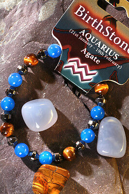 'AQUARIUS' Gemstone 'Power Bracelet' plus a free guide book & bookmark.