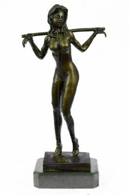 Signed Preiss Special Patina Girl in Bondage Bronze Sculpture Marble Statue Art