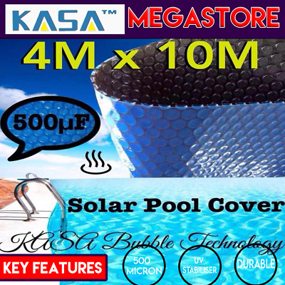 Black Solar Swimming Pool Cover 500 Micron Outdoor Bubble Blanket 10.0 X 4.0M