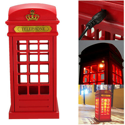 Classic USB Charging LED Night Light London Telephone Booth Designed Table Lamp