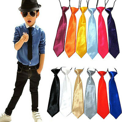 Fashion Satin Elastic Neck Tie for Wedding Prom Boys Children School Kids Ties