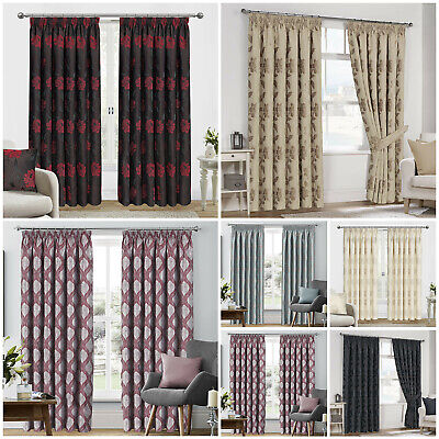 Luxury Jacquard Curtains Fully Lined Ready Made Pencil Pleat / Tape Top Curtains