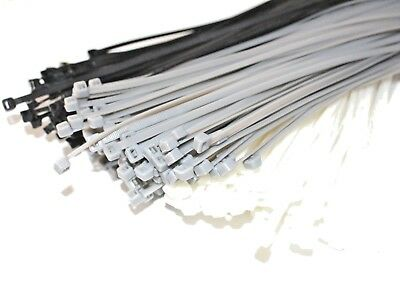 Cable Ties Nylon White Black Silver 370mm X 4.8mm QTY 100