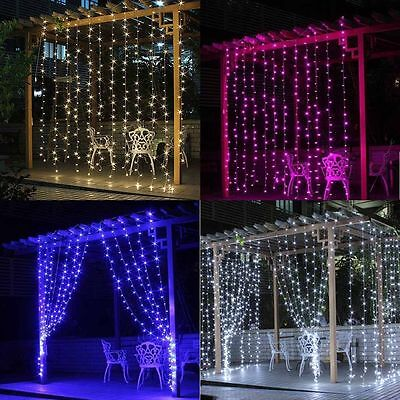 3M/6M*3M Curtain Xmas Party String Fairy Wedding Garden Lighting In/Outdoor OZ