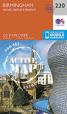 Birmingham Walsall Solihull Redditch Explorer Map LAMINATED ACTIVE Map 220