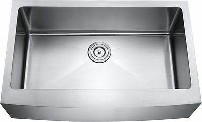 """33"""" Hand Made Apron Front Stainless Steel Single Bowl Farmhouse Kitchen Sink"""