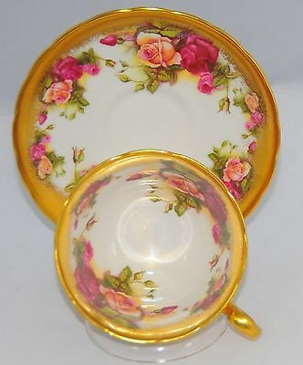 Royal Chelsea  Rose Tea Cup And Saucer Heavy Gold