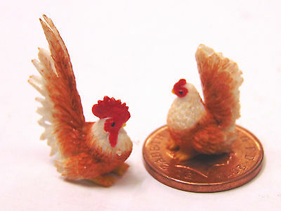 1:12 Scale Hand Made Chicken & Cock Dolls House Miniature Garden Animal T3