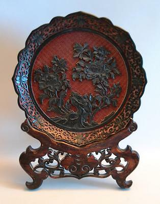 Vintage 1920s Chinese Cinnabar Plate with Wooden Stand