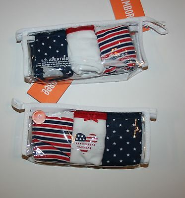 New Gymboree 3 Pack Panties Underwear 2T 3T  NWT July 4th Stars Stripes Heart