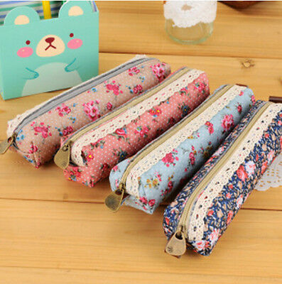 Small Flower Polka Dots Pen Pencil Case Cosmetic Makeup Bag Storage Pouch Purse