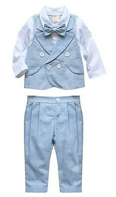 Baby Page Boy Christening Formal*Wedding*Tuxedo 2pc Outfit in Matching Bow Tie