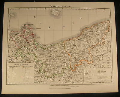 Pomerania Gulf of Danzig Rugen 1854 antique lithograph  detailed color map