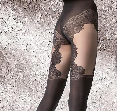 Vitessa Highly Fashionable Patterned Microfibre Suspender Tights 40 Den Fiore
