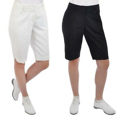 Sunice Silver Collection Womens Ladies Solid Plain Golf Shorts - Black / White