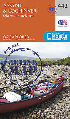 Assynt and Lochinver Explorer Map LAMINATED ACTIVE Map 442 Ordnance Survey