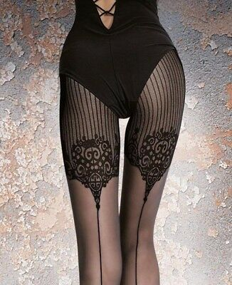 Highly Fashionable Patterned Mock Suspender Tights 40 Den by Fiore Jolena