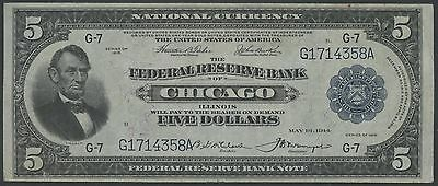Fr793 $5 Frbn Chicago 1915 Teehee / Burke Vf-Xf (Only 44 Recorded) Rare Wl9300