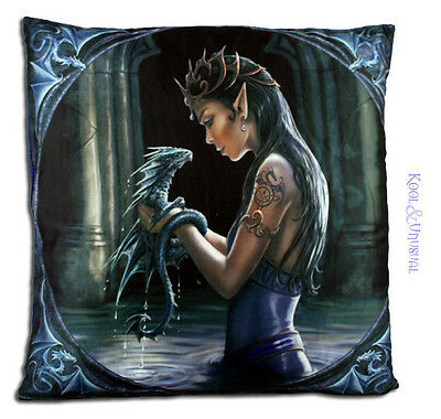 """Anne Stokes Large Cushion: """"Water Dragon"""" Fairy Elf Girl with Baby Dragon"""