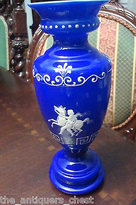 Cobalt blue and white cased glass, probably made in Bohemia, c1900s vase[a*3]