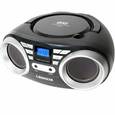 Lenoxx Black Portable Boombox CD CD-R/CD-RW Player Speaker/FM radio/Aux in 3.5mm