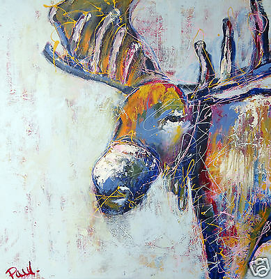 "stag moose elk pop art abstract limited edition canvas print 20"" x 20"""