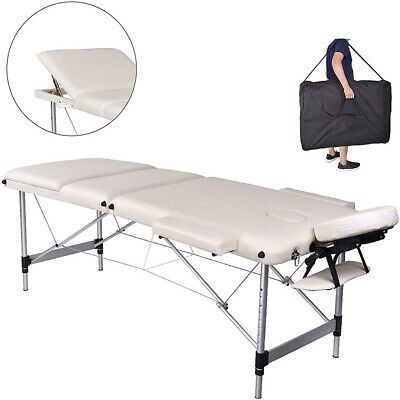 Aluminium 3 zones Mobile Portable Massage Table Couch Sofa ONLY 12.5 KG Cream