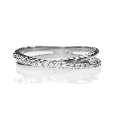 BEAUTIFULLY ETERNITY SOLID WHITE GOLD RING 9ct SIZE N ENGAGEMENT 9K